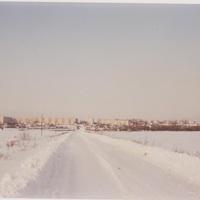Панорама посёлка центр. усадьбы совхоза Мир. Вид со стороны дер. Горяновская. 1993г.