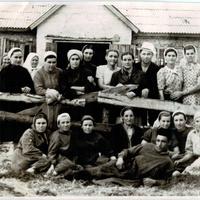 Працівники молочно-товарної ферми колгоспу ім. Калініна с. Новопетрівки в 60-х роках 20-го століття.