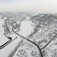 Зимний Междуреченск с высоты