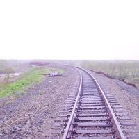 Перегон Долинск - Советское. Впереди - мост через реку Найба