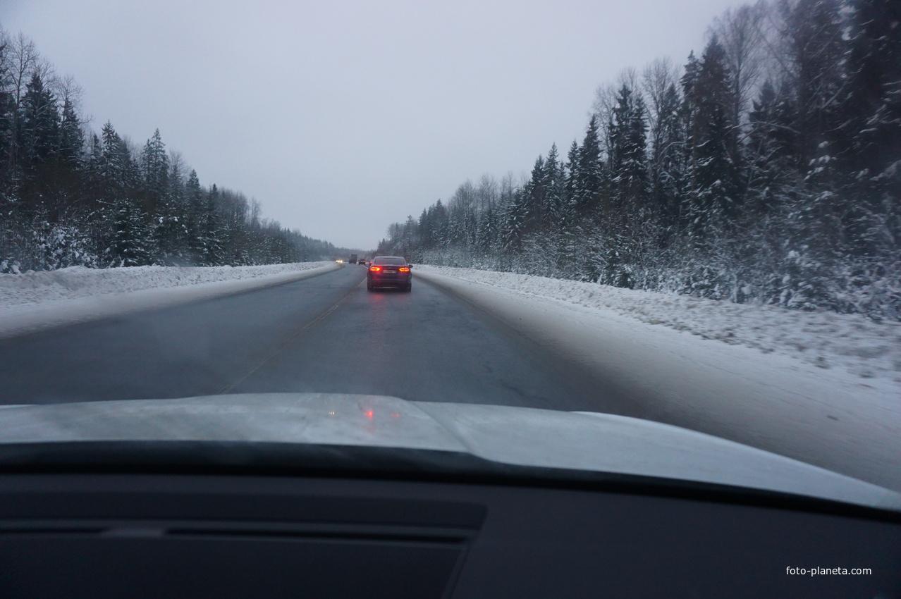 Зимняя трасса С Питере в Псков.