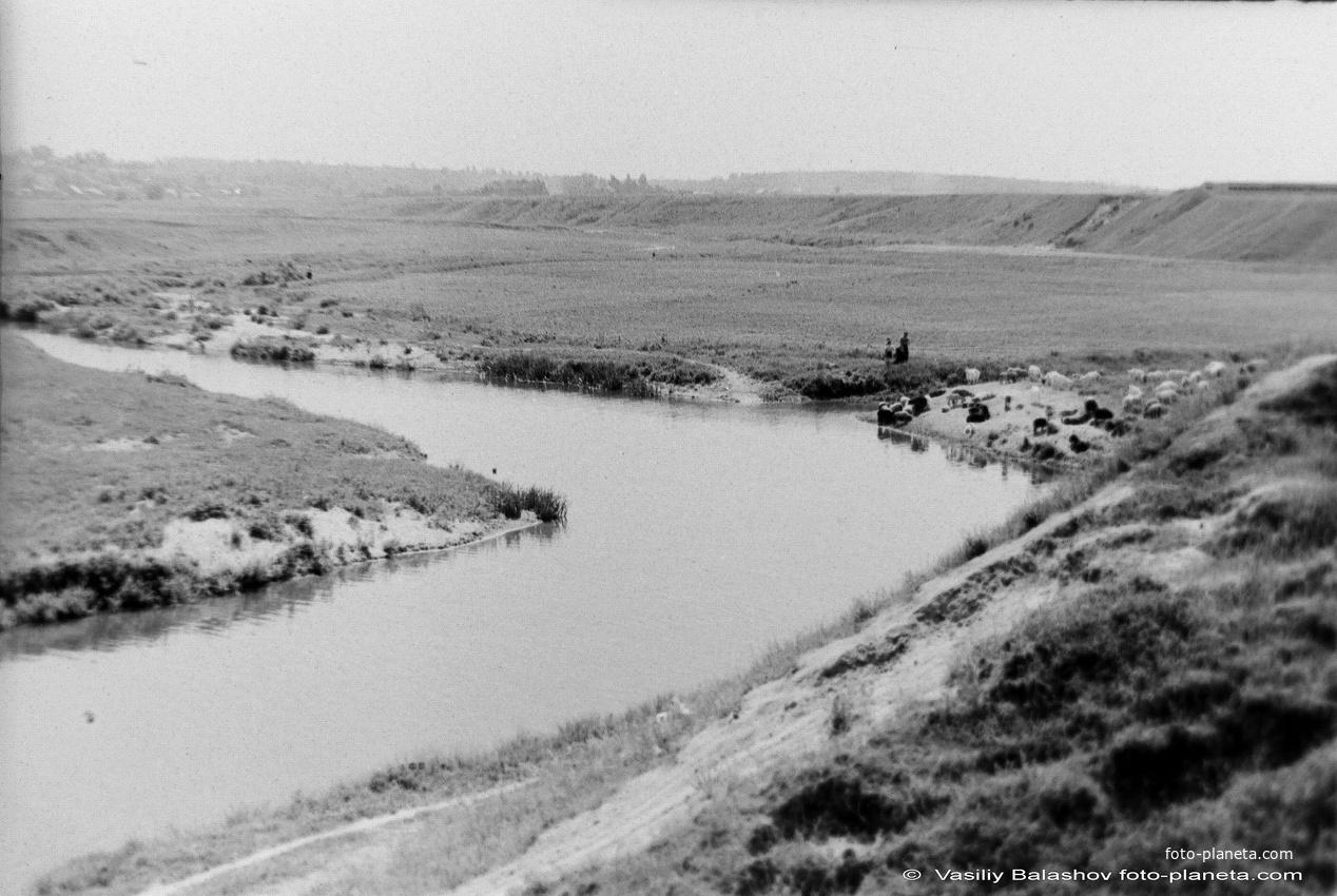 Вид на р. Рожайка со стороны д. Авдотьино, 1956 г.