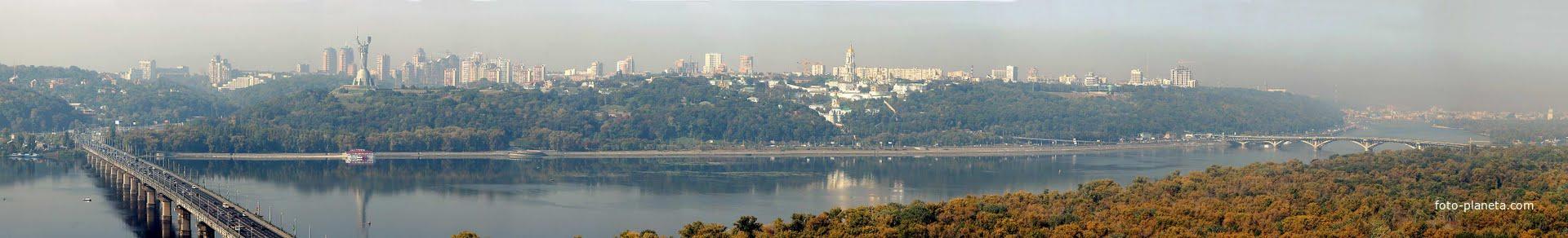 Панорама. Вид с левого берега. Мост Патона. Лавра.