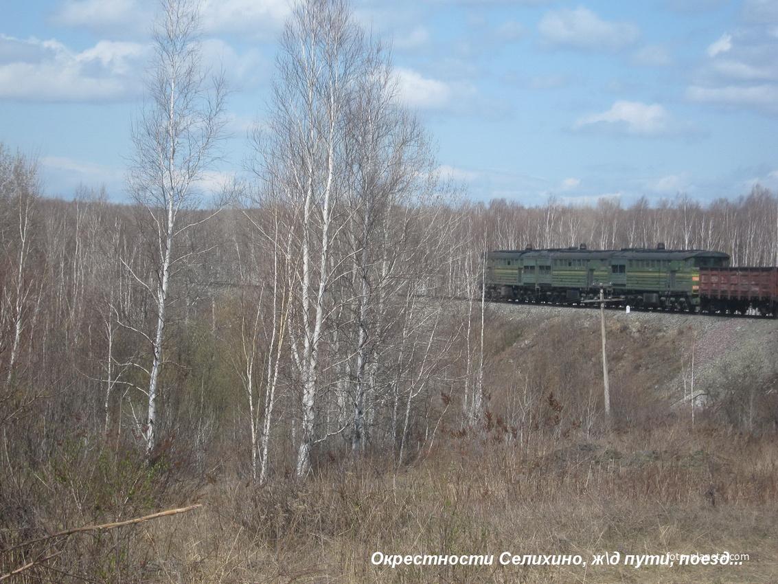Окрестности Селихино: товарный поезд...