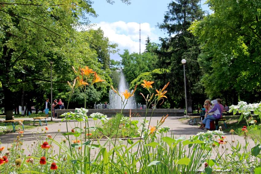 У фонтана в городском парке.